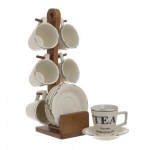 Skodelice za čaj s stojalom in krožniki Tea Eternity
