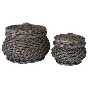 Pletena košara s pokrovom